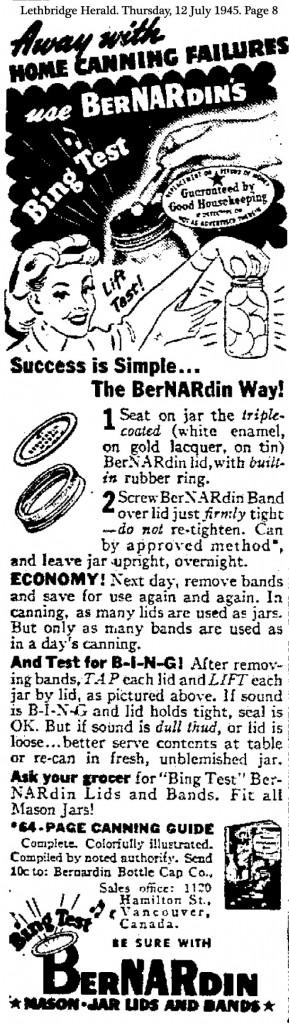 1945 Ad Bernardin Canada