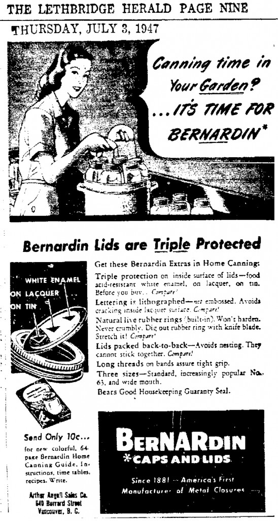 Bernardin Lids Advertisement in: Lethbridge Herald. Thursday, 3 July 1947. Page 9 .