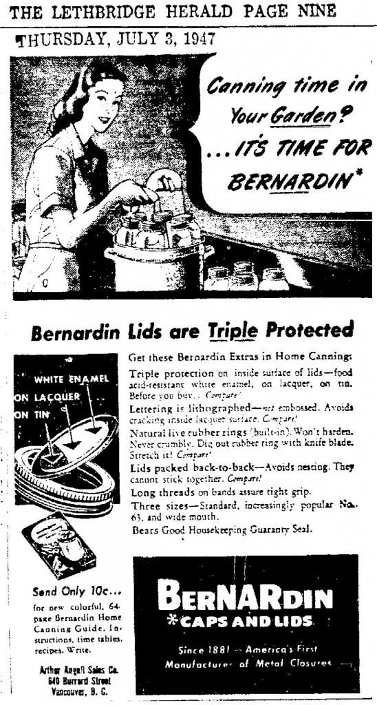 Bernardin Lids Advertisement in: Lethbridge Herald. Thursday, 3 July 1947. Page 9 .