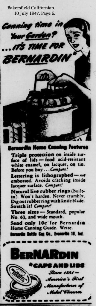 Advertisement in: Bakersfield Californian. 10 July 1947. Page 6.