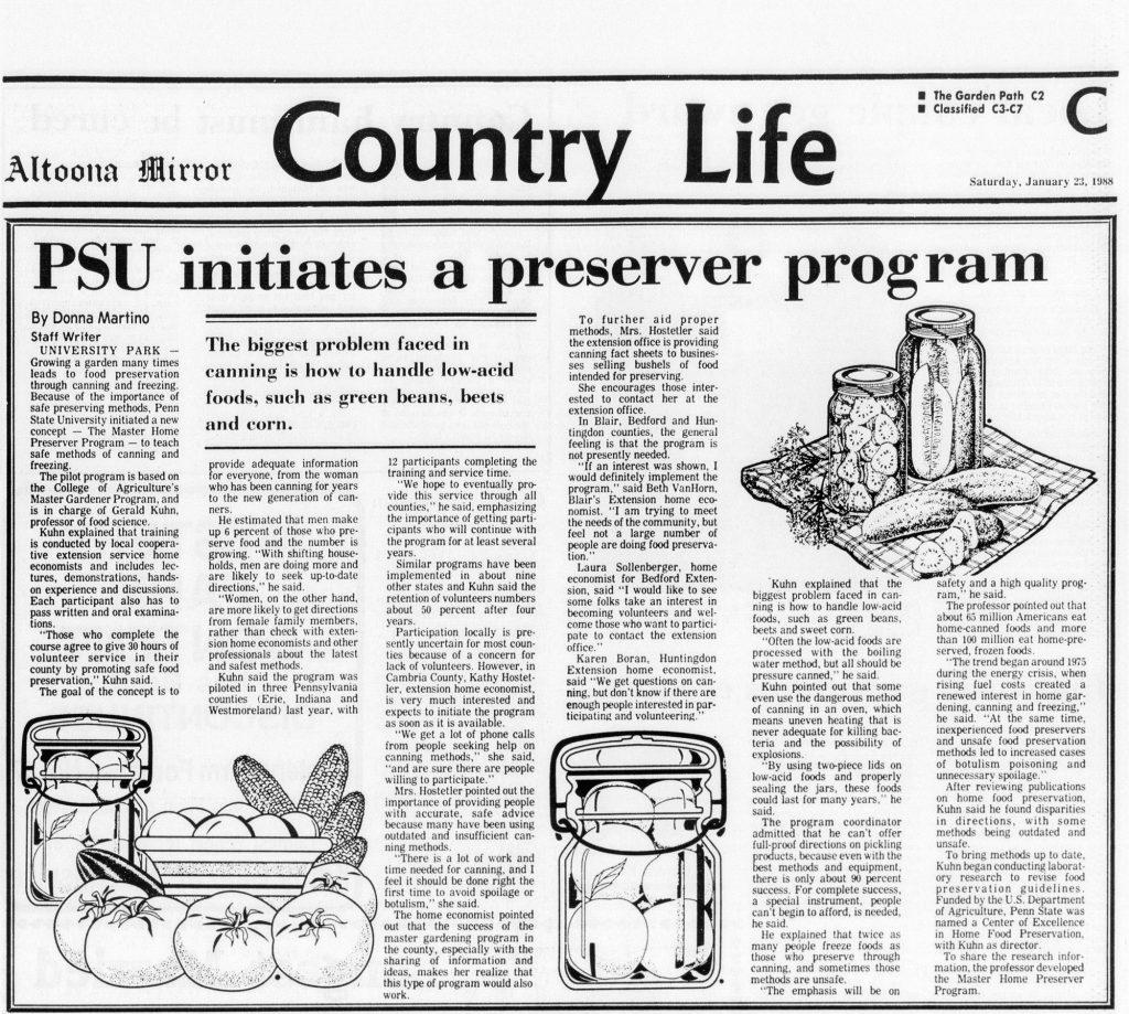 Master Food Preserver program Pennsylvania.