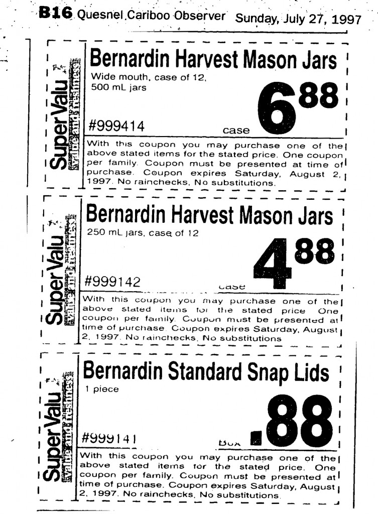 1997 bernardin harvest mason jars