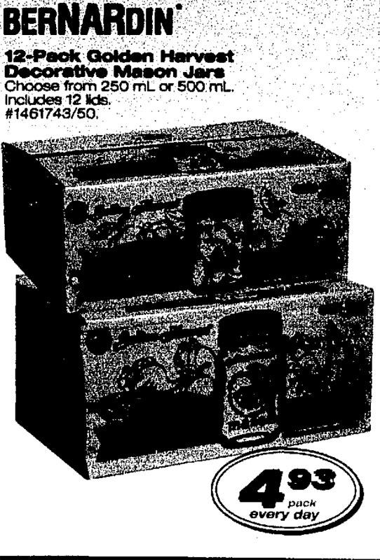 Golden Harvest jars being sold branded as Bernardin. Walmart ad in Winnipeg Free Press, 20 June 2003.