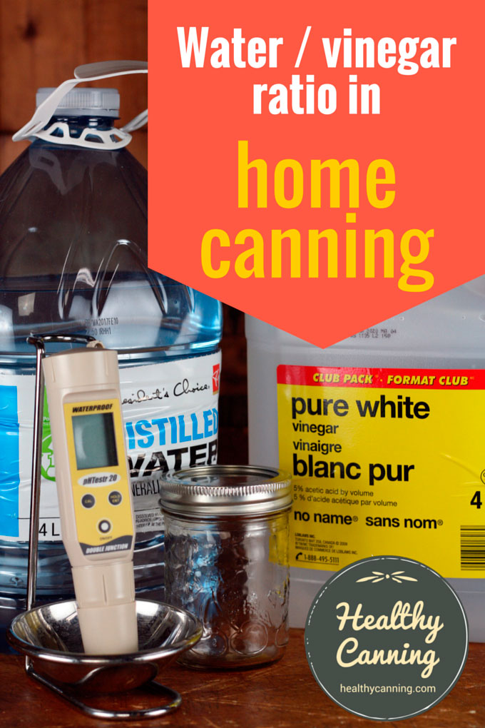 Acidity of water and vinegar combinations in home canning