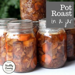 Beef pot roast in a jar