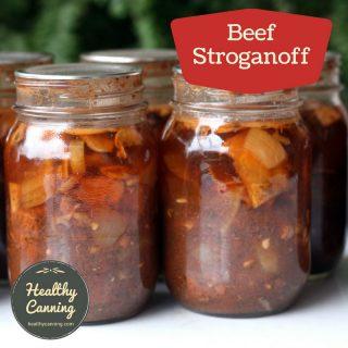Beef stroganoff in a jar