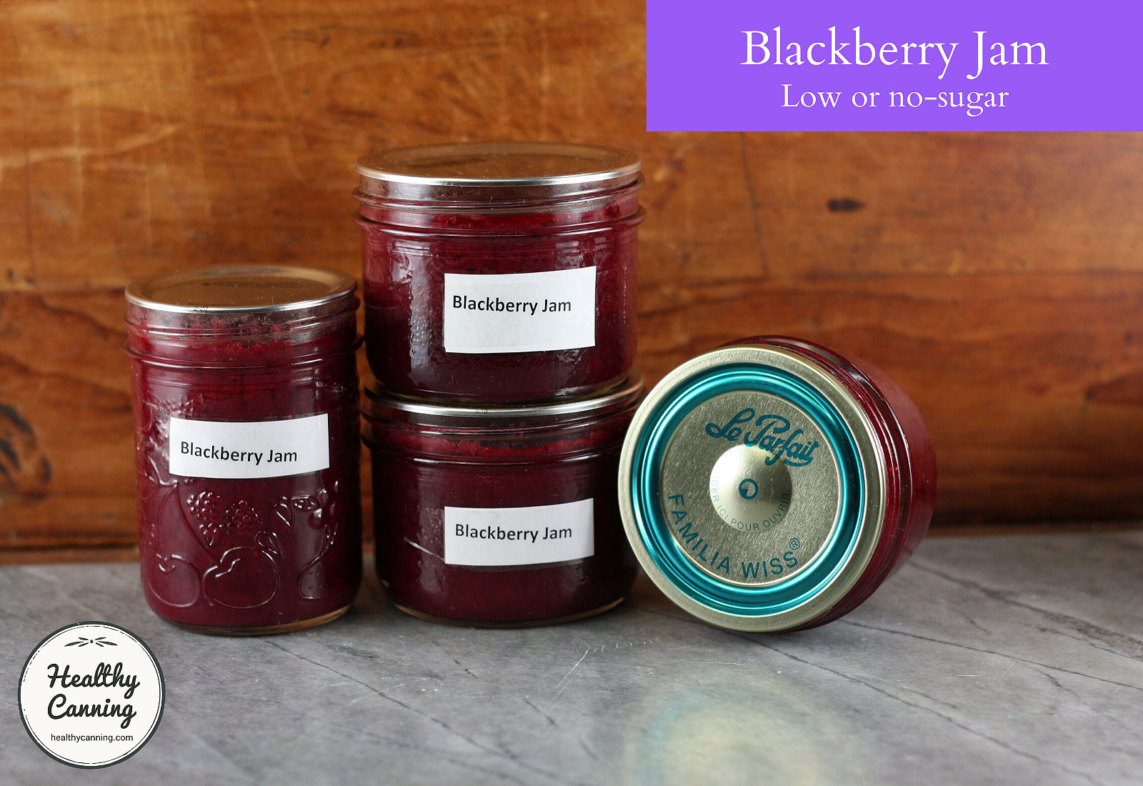 Blackberry jam in jars