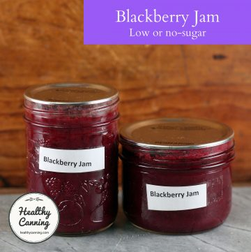 Blackberry jam in jars