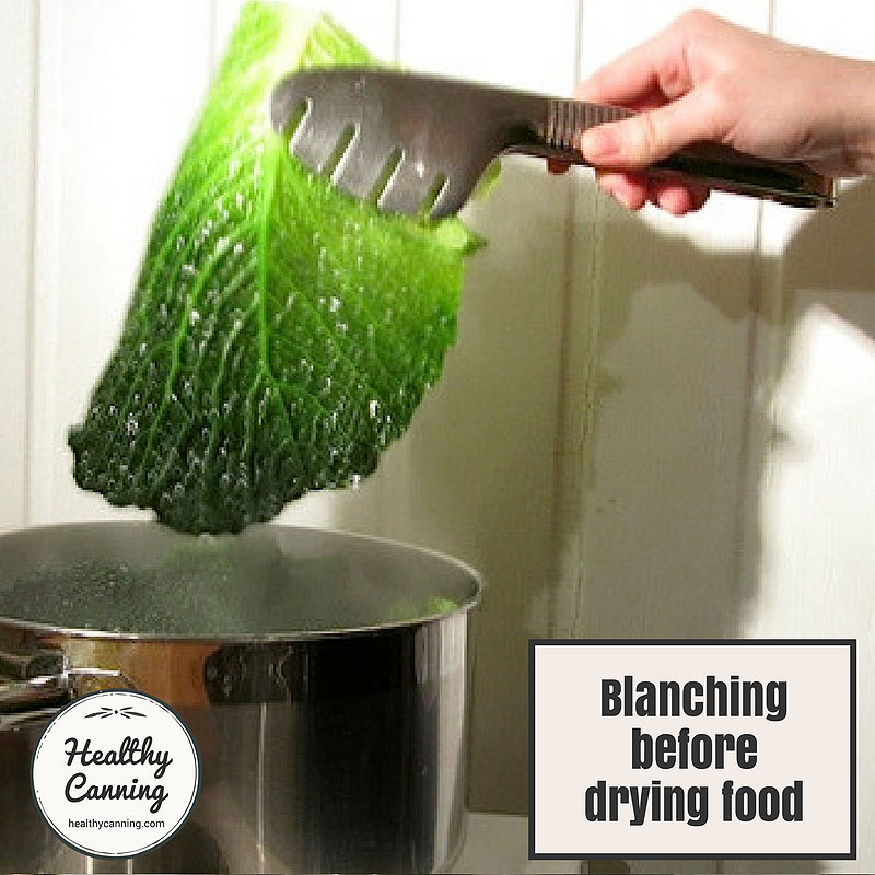 Blanching before drying food
