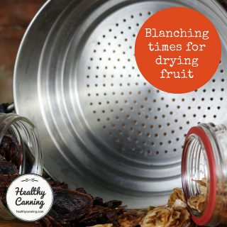 Blanching times for drying fruit