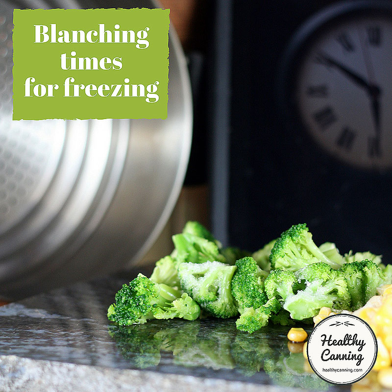 Blanching times for freezing vegetables