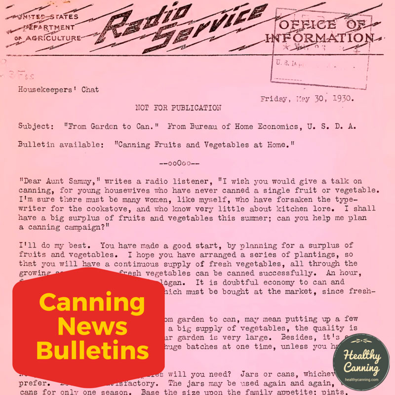 Canning News Bulletins