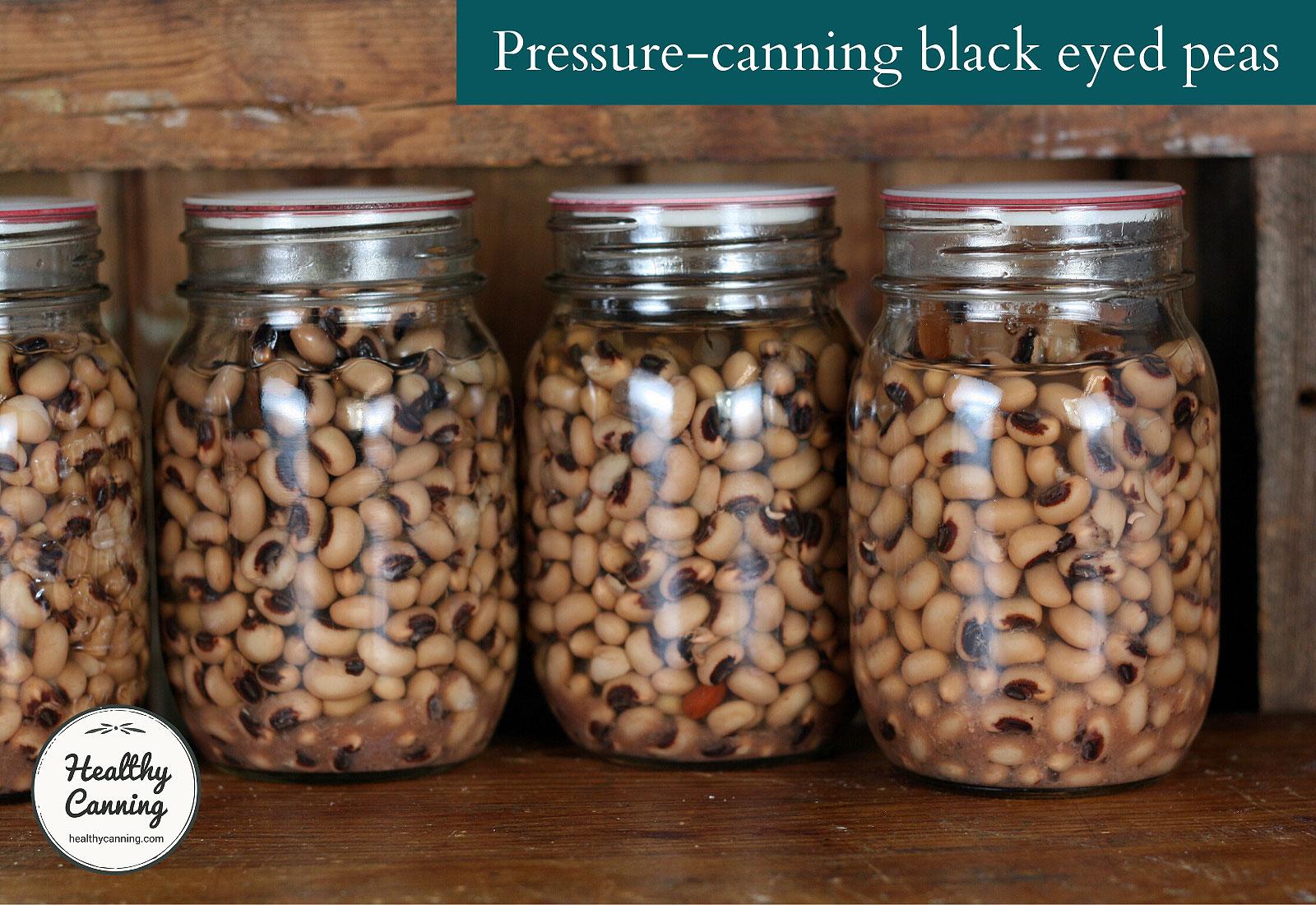 Pressure canned black-eyed peas in jars
