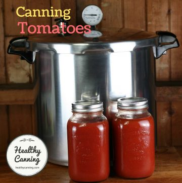 picture of jars of tomatoes with pressure canner