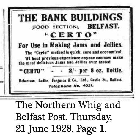Certo Ad, Belfast, 1928