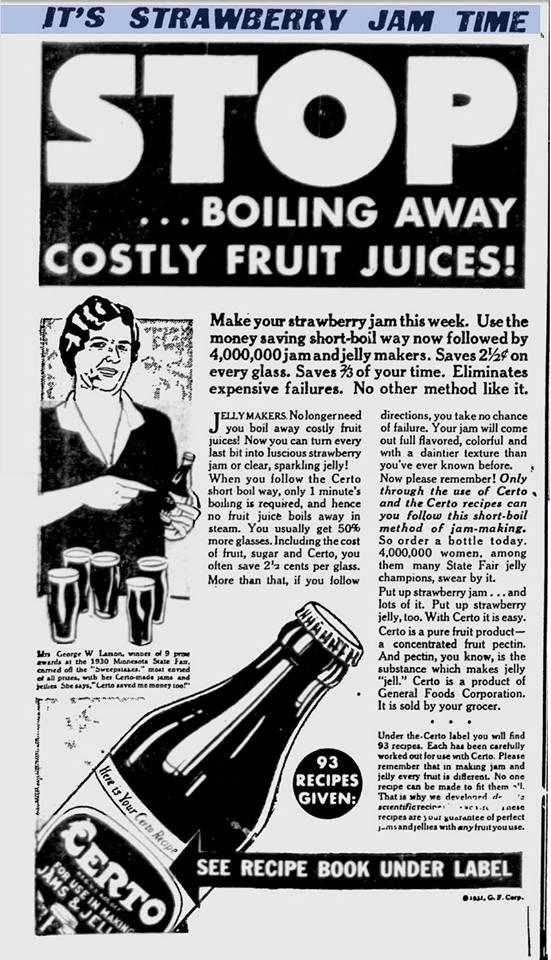 Certo advertisement 1931