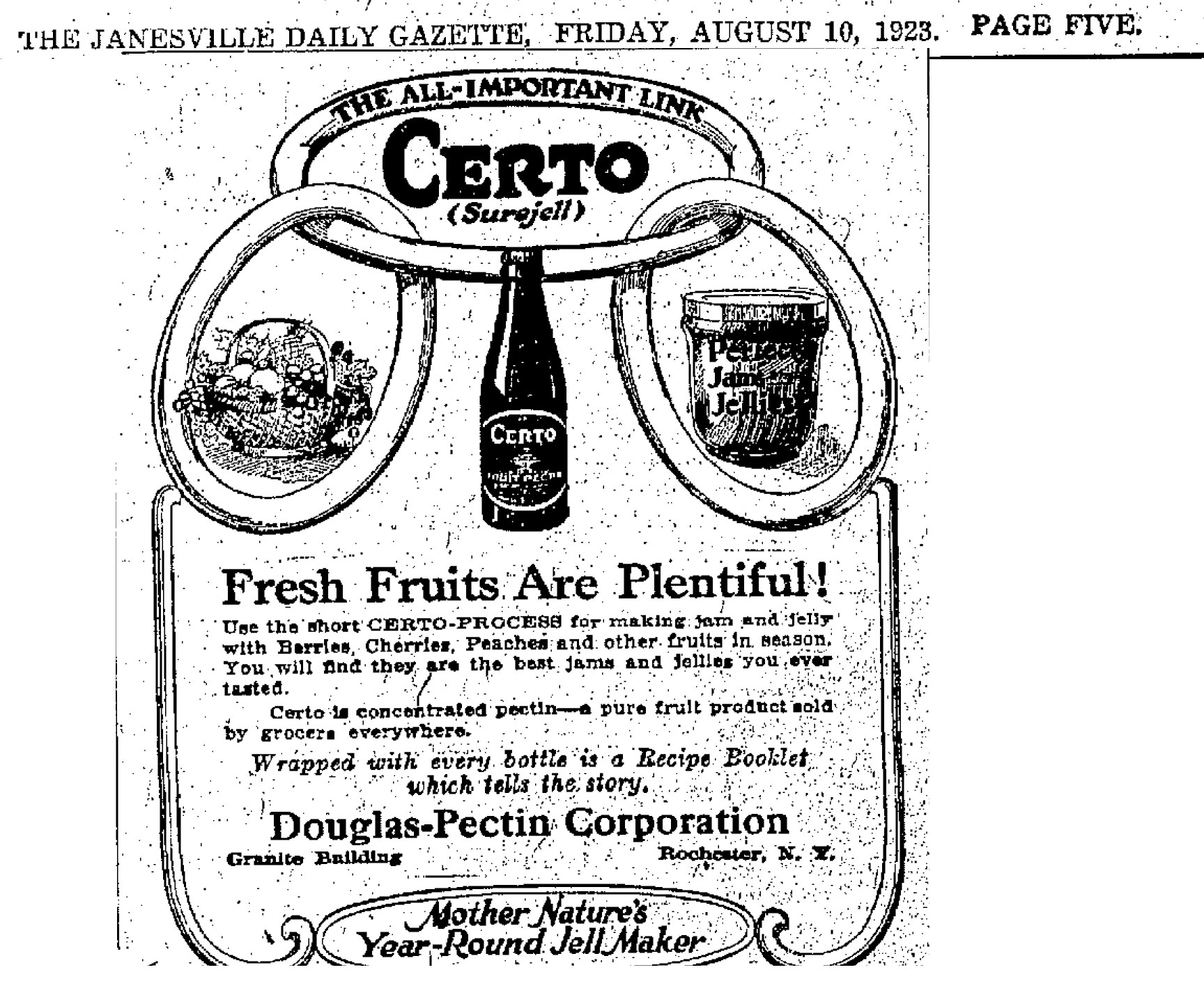 1923 ad for Certo