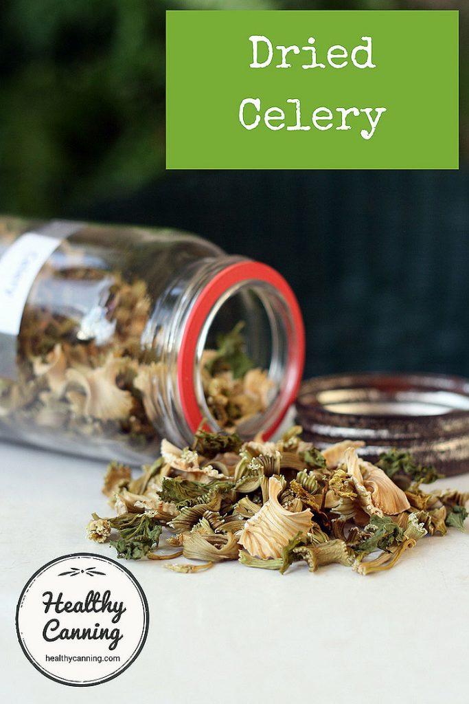Dried celery in jar