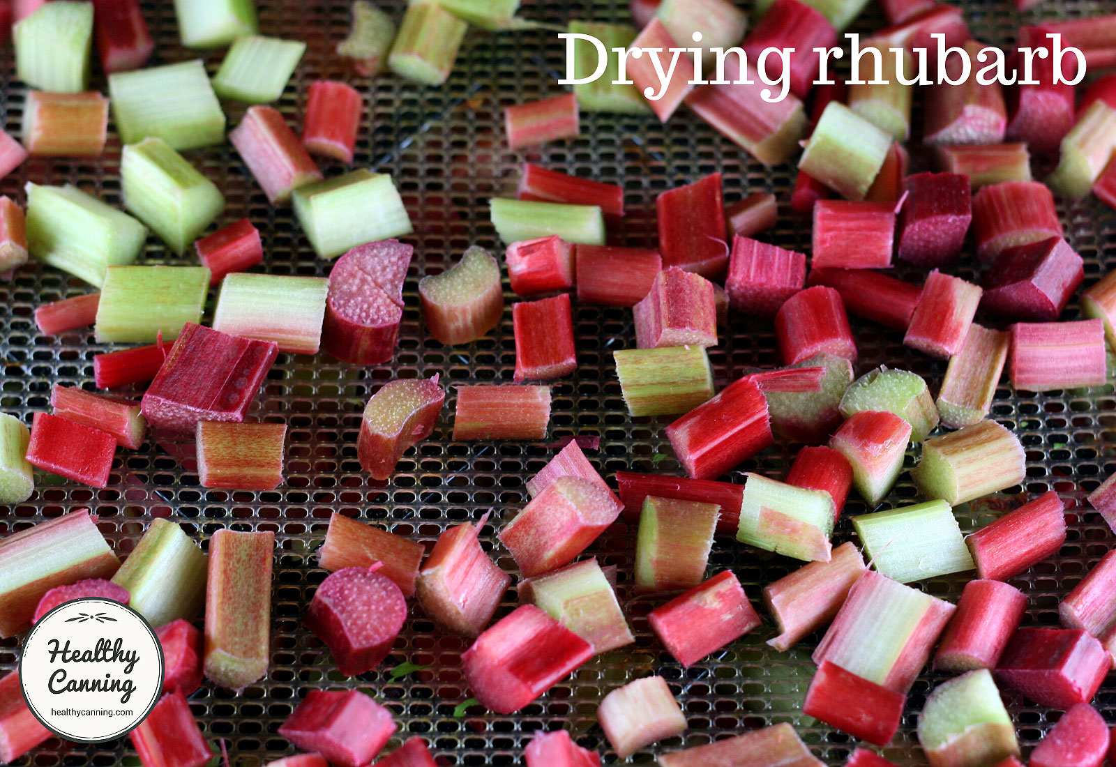 Drying rhubarb on tray