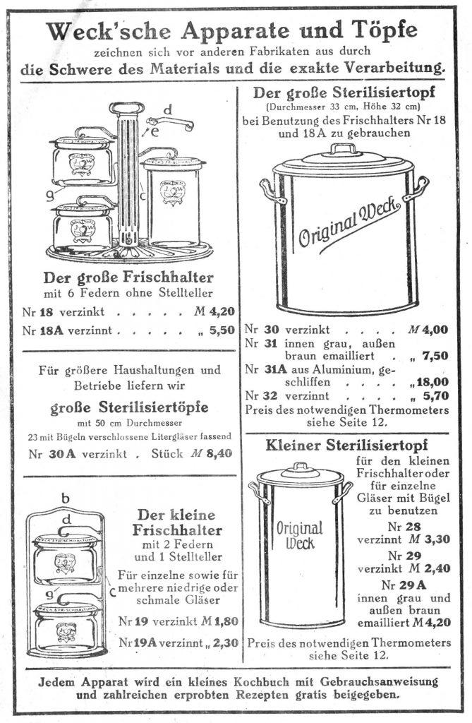 Weck preserving pots and accessories, 1913. Einkochtöpfe und Zubehör aus einem Prospekt der Firma Weck von 1913. Hofrath / wikimedia.org / 1913 / CC BY-SA 4.0 CC BY-SA 4.0