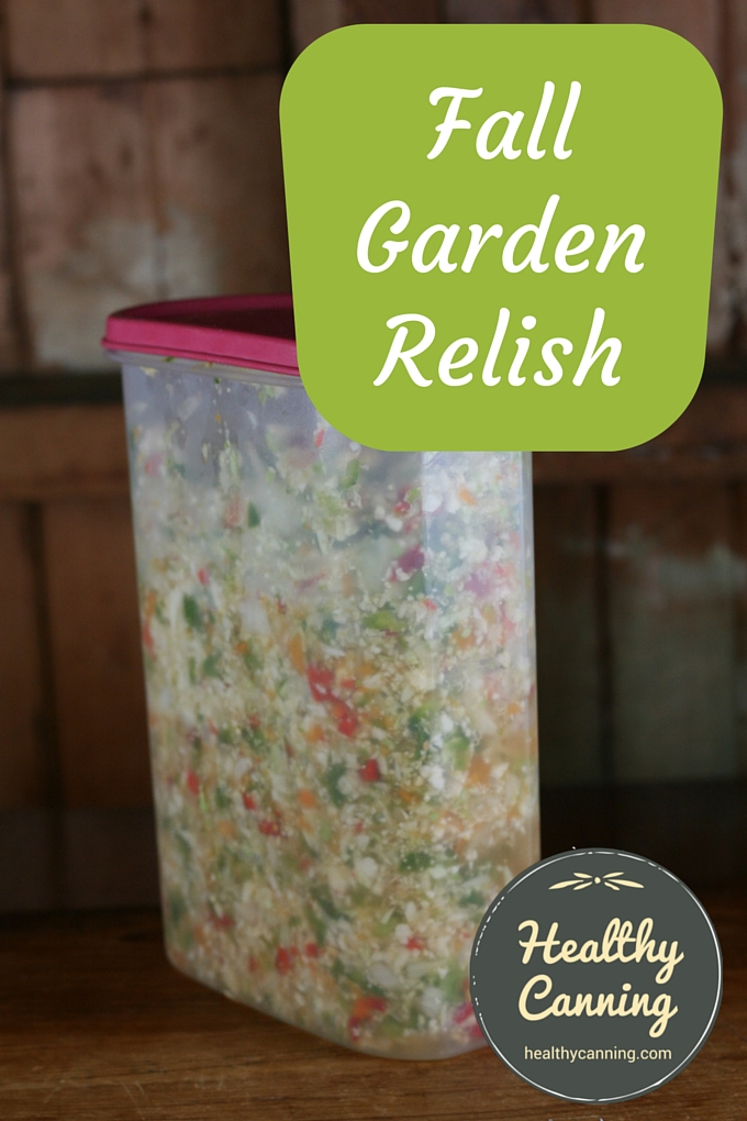 Fall Garden Relish in tupperware container.