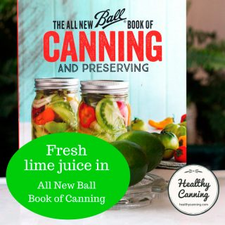 Fresh lime juice salsas in the All New Ball Book of Canning