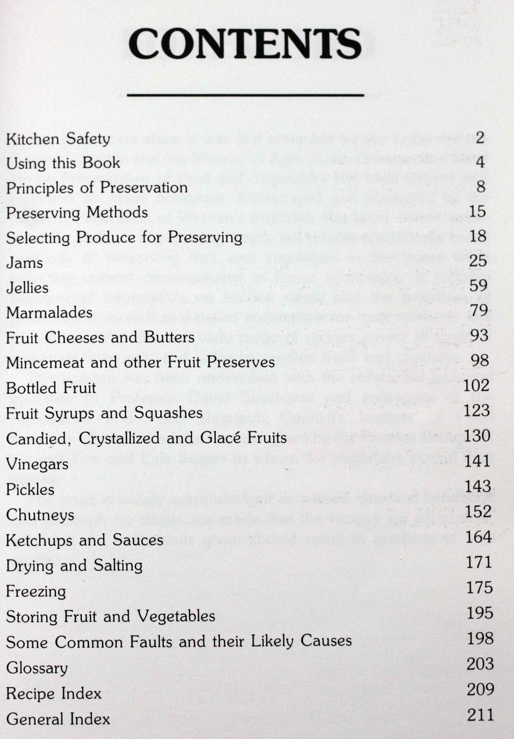 Home Preservation of Fruits and Vegetables, Table of Contents