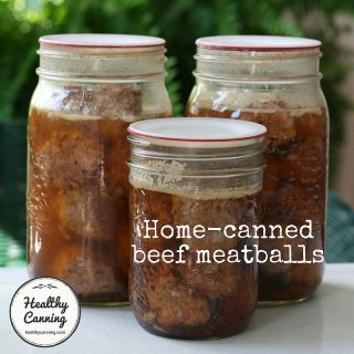 Home-canned beef meatballs