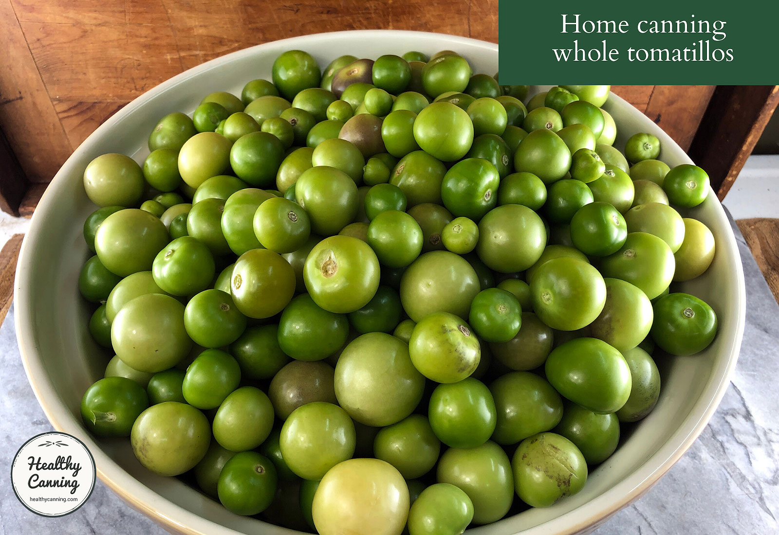 Husked tomatillos in bowl