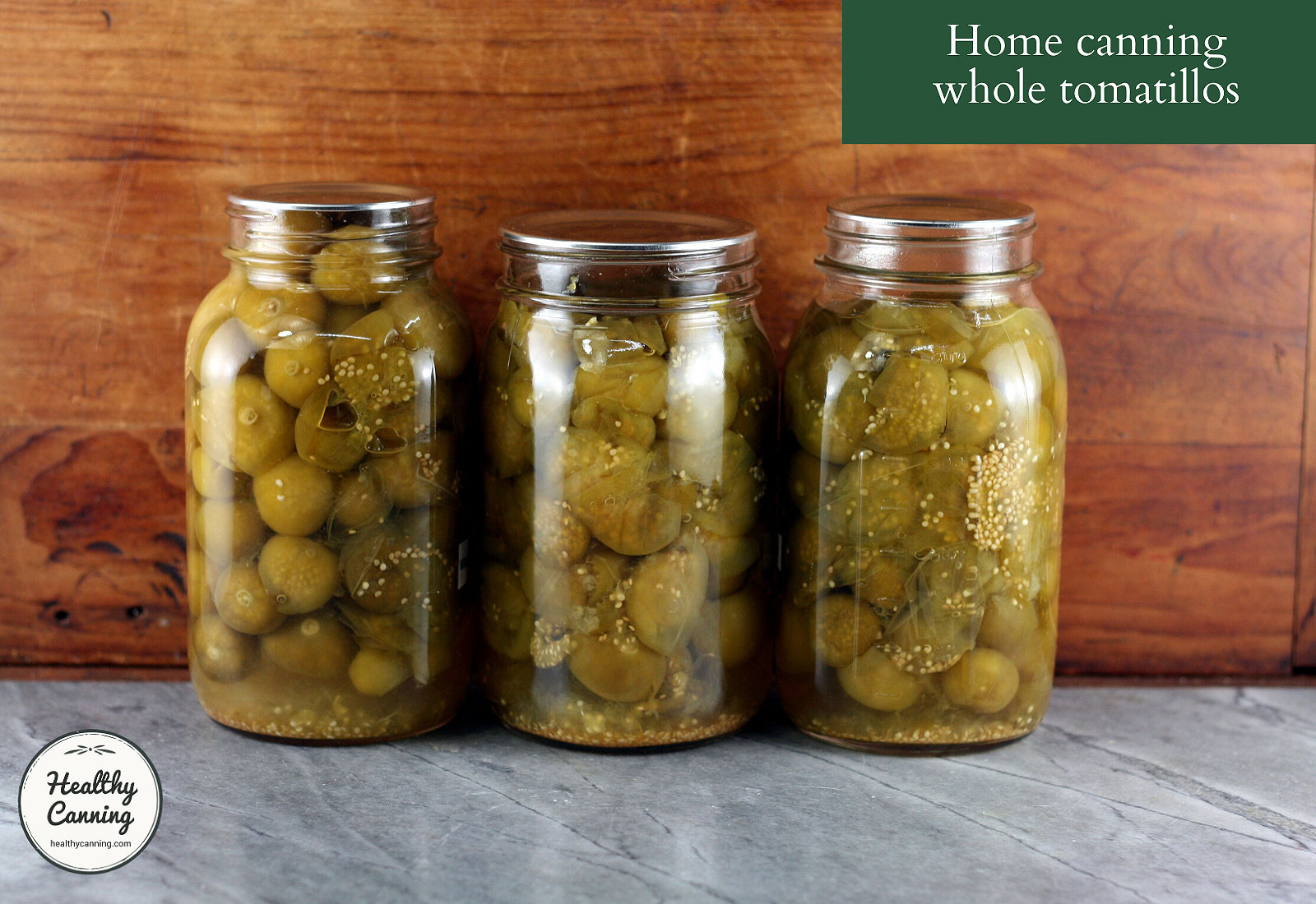 Home canned tomatillos in jars