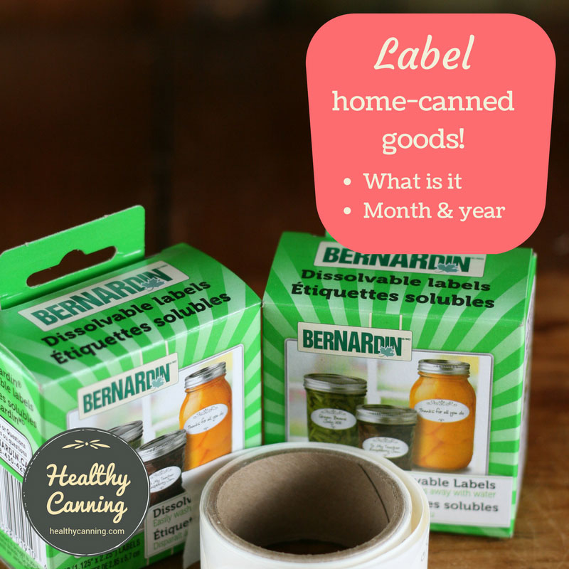 Labelling home-canned goods