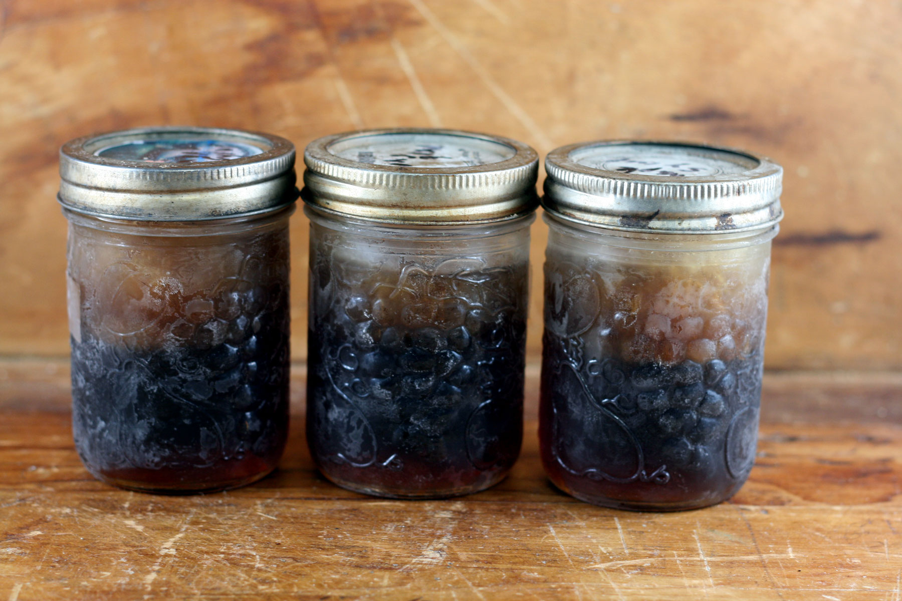 Frozen maple syrup in Mason jars