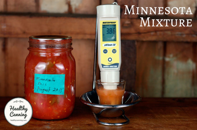 The University of Minnesota Extension Service has given us a delicious, safe tomato product recipe, with a pH of 3.86, tested 3 months after canning: 25 g solids, 50 ml distilled water. Well below upper safety cut-off of 4.6 pH.