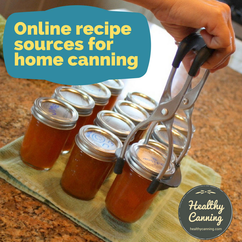 Online recipe sources for home canning