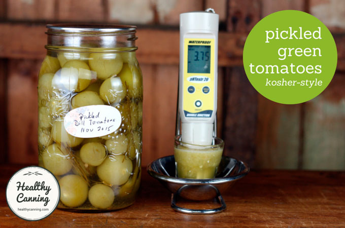 These Pickled Green Tomatoes, kosher-style, have a pH of 3.75, tested using 25 g solids, 50 ml distilled water. Well below upper safety cut-off of 4.6 pH.