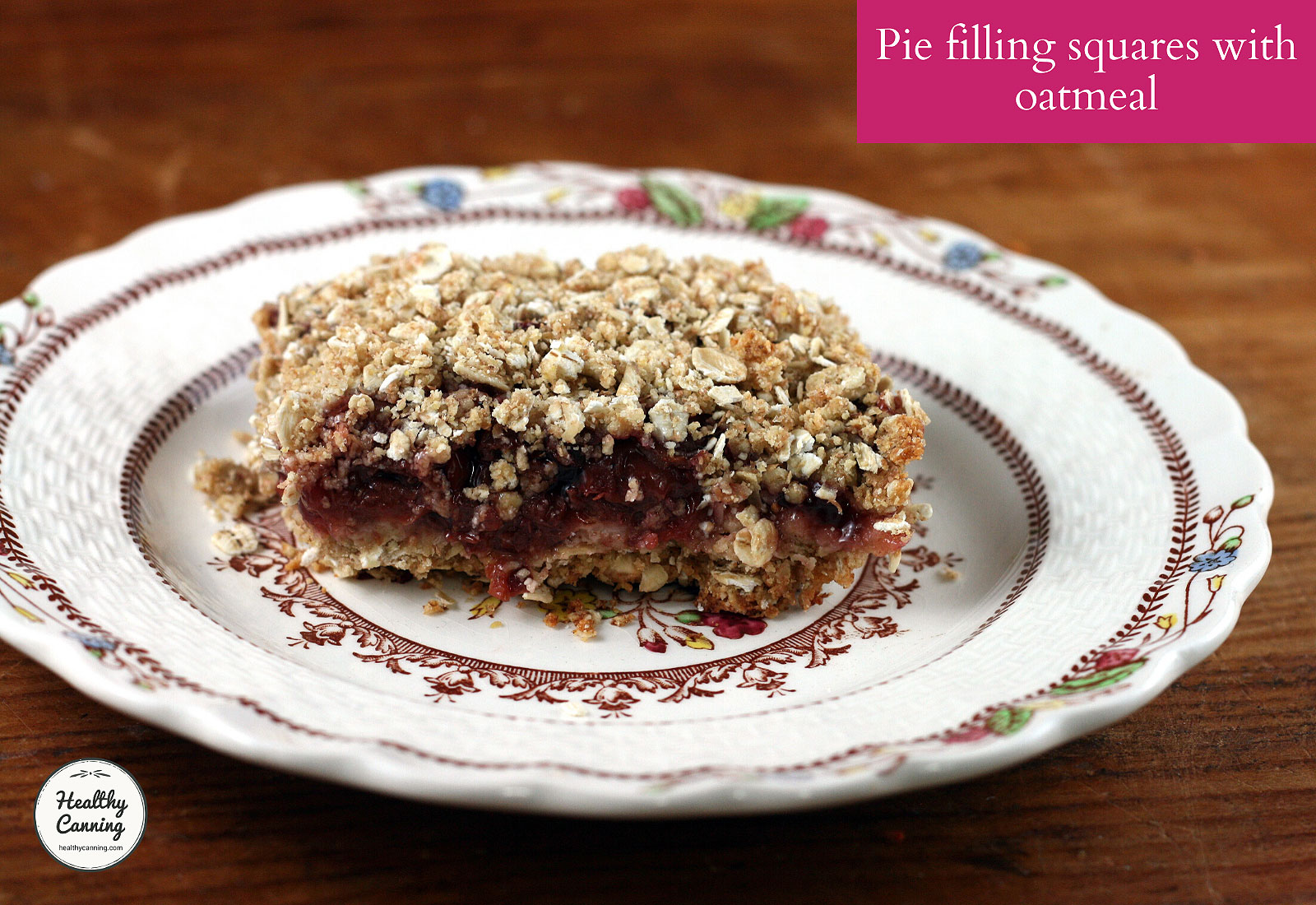 Photo of pie filling squares with oatmeal