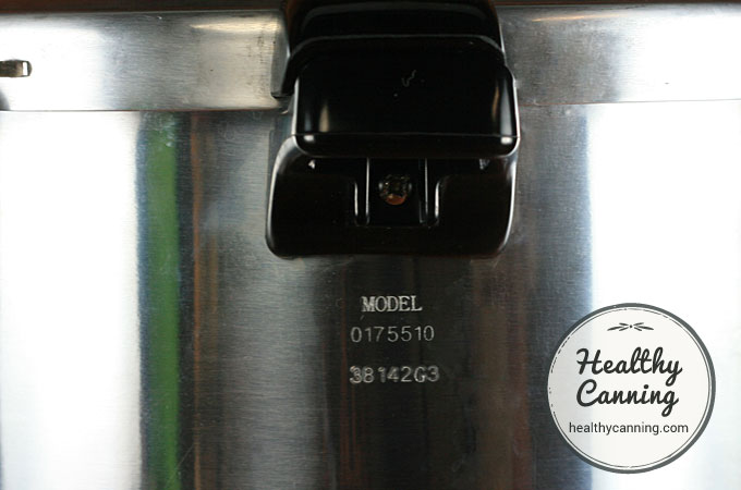 Presto Pressure Canner model number is under the handle