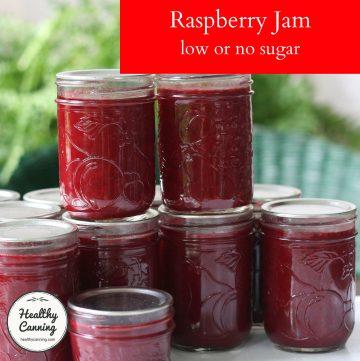 Raspberry jam in jars