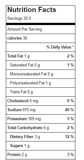 Refried Bean Seasoning Mix With Salt Nutrition