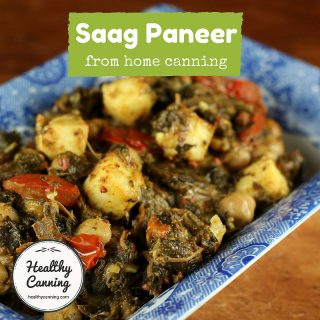 Saag paneer with okra and chickpeas