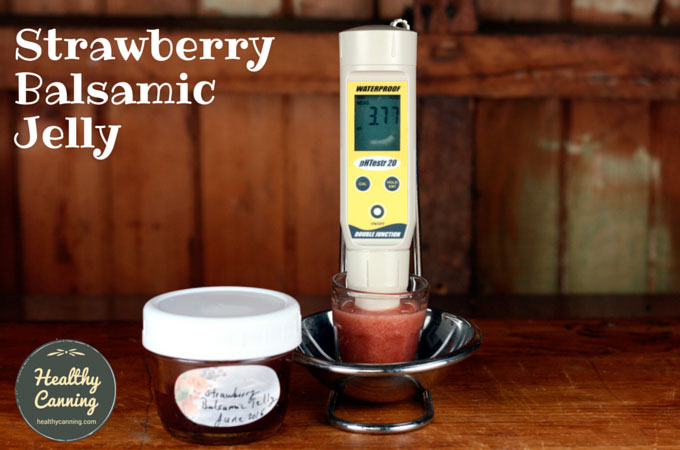 Strawberry Balsamic Jelly has a pH of 3.77, tested using 25 g solids, 50 ml distilled water. Well below upper safety cut-off of 4.6 pH.