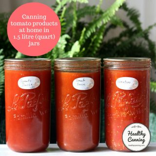 Canning tomato products in 1.5 litre (quart) jars