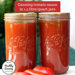 Tomato sauce in 1.5 litre (quart) jars