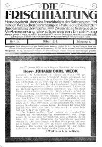 Weck obituary. Die Frischhaltung, März 1914, Heft 11, Titelseite. Public Domain Public Domain