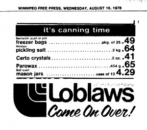 Ball Jars in Canada 1978