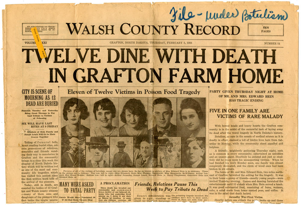 Twelve Dine With Death In Grafton Farm Home, 1931. Walsh County Record.