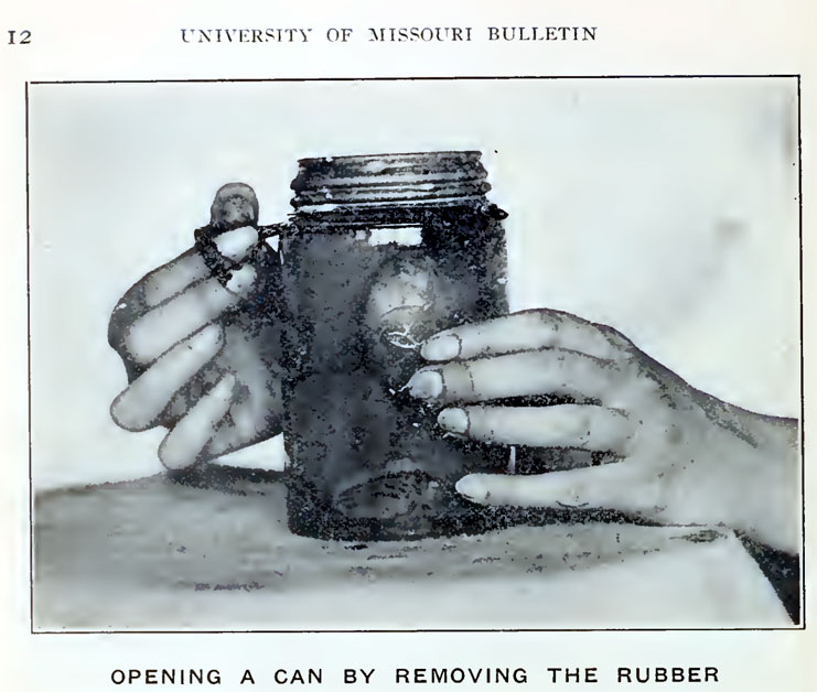 A jar referred to as a can in 1914. Src: Stanley, Louise and May C. McDonald. The Preservation of Food in the Home. University of Missouri Bulletin, Vol 15, # 7, Extension Series 6. Columbia, Missouri: University of Missouri. 6 March 1914. Page 12.