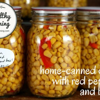 Corn kernels with red pepper and basil