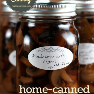 Canned mushrooms with cognac