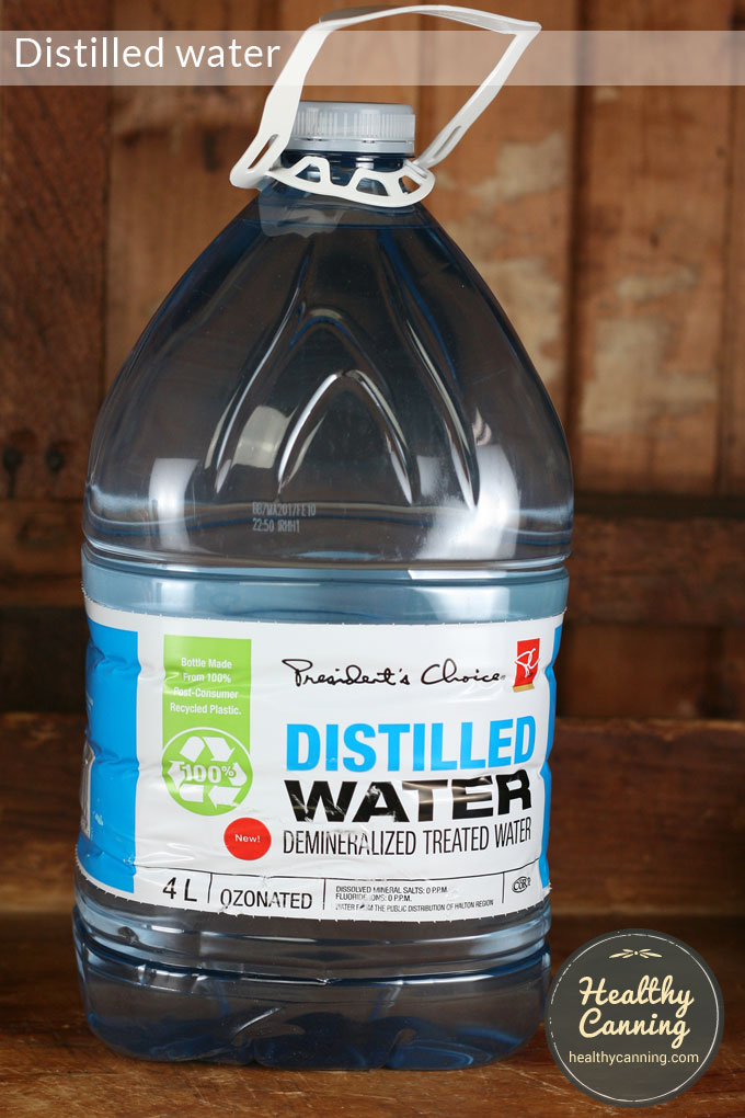 Distilled water to measure pH of home canned food products.